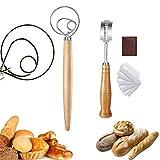Batidor de Masa, Batidora de Mano masa de pan de Acero Inoxidable Herramientas Hornear Cocina con Mango de Madera, para pan, Masa, Pasteles, Pasteles y más (2Pcs)