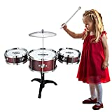 AHOMASH Small Jazz Drum Sets for Kids 1-5 Years Old Beats Musical Toys Plastic Drum Kit with Cymbal & Drumsticks
