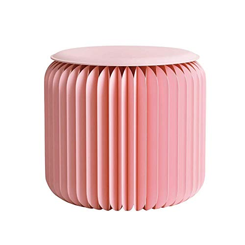 FLYFASH Pink Folding Paper Stool, Creative Folding Paper Stool, with Felt Pad Seat - Easy Assembly - Stylish Chair for Home Decor Gifts (Size : L)