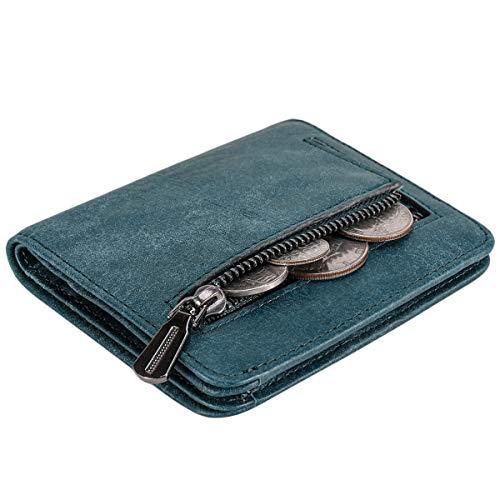 Itslife Damen RFID-blockierende kleine kompakte Bifold Leder Tasche Geldbörse Damen Mini Geldbörse mit ID-Fenster, Jeansjacke (Blau) - 1301