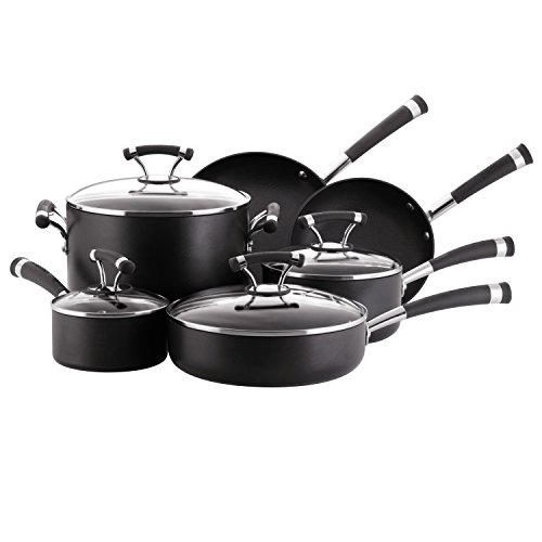 Circulon Contempo Hard Anodized Nonstick Cookware Pots and Pans Set, 10 Piece, Black