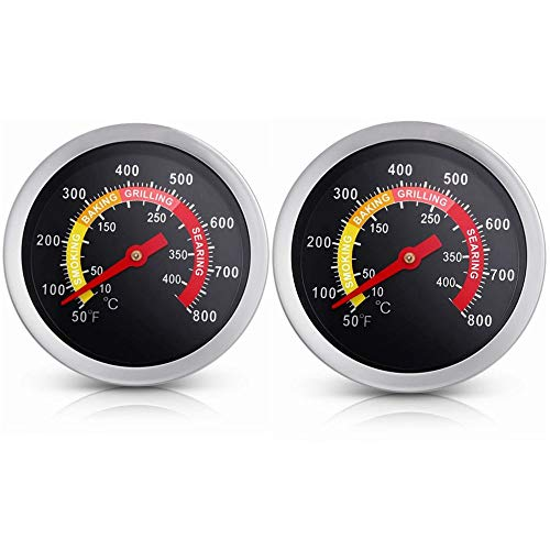 2 Pack BBQ Grill Thermometer, 2 3/8 inch Charcoal Smoker Barbecue Grill...