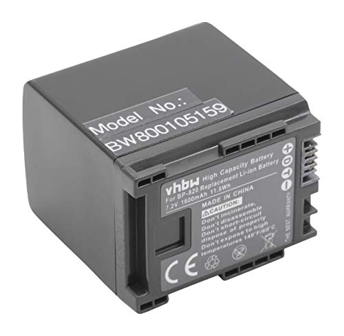 vhbw batería con Infochip para cámara Canon XA10, XA20, XA25, HF G30 sustituye BP-819, BP-820, BP-827, BP-828.