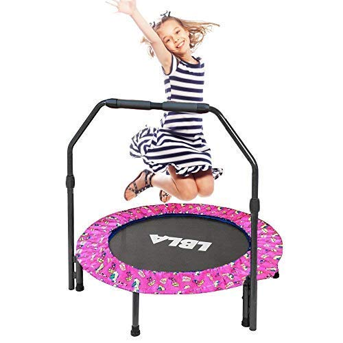 36-Inch Kids Trampoline Little Trampoline with Adjustable Handrail and Safety Padded Cover Mini Foldable Bungee Rebounder Trampoline Indoor/Outdoor (Pink)