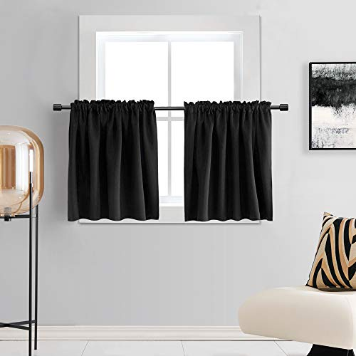 DONREN 30 Inch Length Curtains- 2 Panels Blackout Thermal Insulating Small Curtain Tiers for Bathroom with Rod Pocket (Black,42 Inch Width)