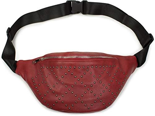 styleBREAKER riñonera de Mujer con Rombos de Remaches, Bolso para la Cadera 02012255, Color:Burdeos-Rojo