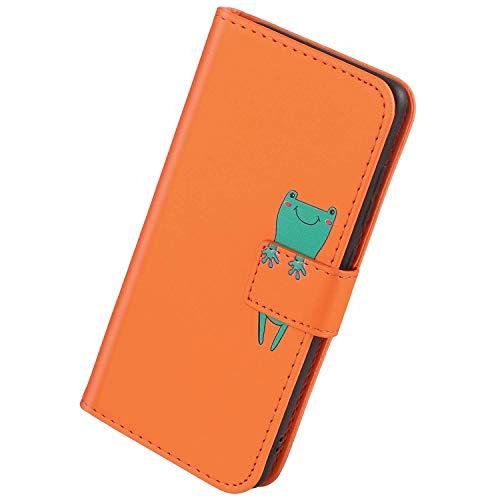 Herbests Kompatibel mit Samsung Galaxy J6 2018 Handyhülle Leder Hülle für Jungs Männer Cute Cartoon 3D Tier Muster Leder Schutzhülle Flip Case Brieftasche Hülle Klapphülle,Frosch Orange