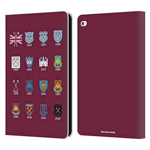 Head Case Designs Officially Licensed West Ham United FC Pattern 4 Crest History Leather Book Wallet Case Cover Compatible with Apple iPad Air 2 (2014)