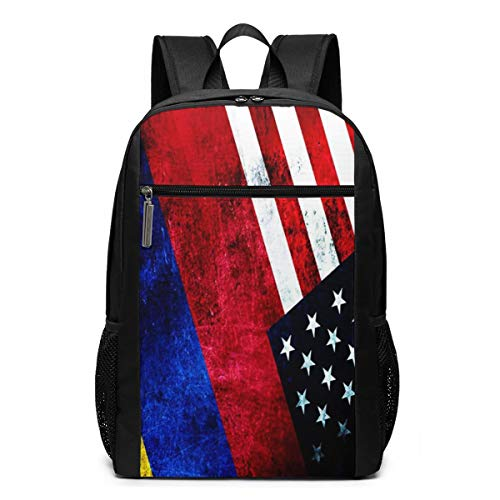 School Backpack Colombia USA Flag, College Book Bag Business Travel Daypack Casual Rucksack for Man Women Teenagers Girl Boy