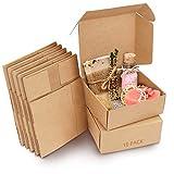 Kurtzy Boite Kraft Cadeau Marrons (Lot de 10) - Boite Carton de 12 x 12 x 5 cm - Boite Carton Cadeau Emballage Facile à Assembler pour Fêtes, Anniversaires, Mariages, Baptêmes, Événements