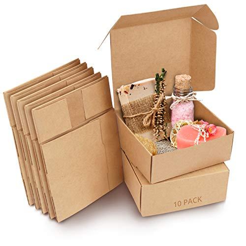 Kurtzy Cajas de Cartón Kraft Marrón (Pack de 10) – Medidas de las Cajas 12 x 12 x 5 cm - Caja Kraft Fácil Ensamblado Cuadrada Presentación - Cajitas para Regalos, Fiestas, Cumpleaños, Bodas