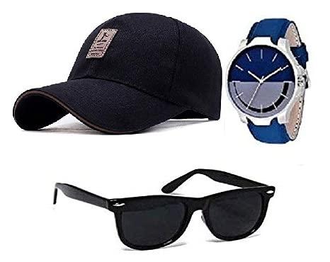 sba prime Men's Square Cap, Watch and Sunglasses Combo (Multicolor), Free Size