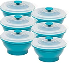 Collapse-it Silicone Food Storage Containers - BPA Free Airtight Silicone Lids, 6 Piece Set of 2-Cup Collapsible Lunch Box Containers - Oven, Microwave, Freezer Safe with Bonus eBook