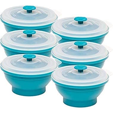 Collapse-it Silicone Food Storage Containers - BPA Free Airtight Silicone Lids Collapsible Lunch Box Containers - Oven, Microwave, Freezer Safe (Blue (6) 2-Cup Set)