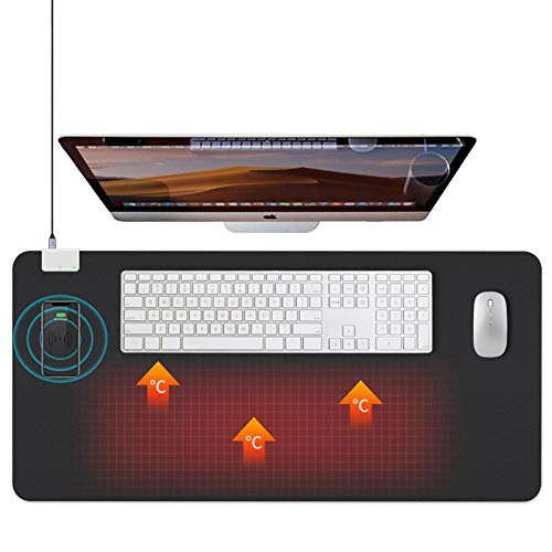 LANGTAO Large Gaming Mouse Pad, Gaming Large Mouse Pad Wireless Charging Desk Mat with Heating Function for Gaming Computer Office Desk