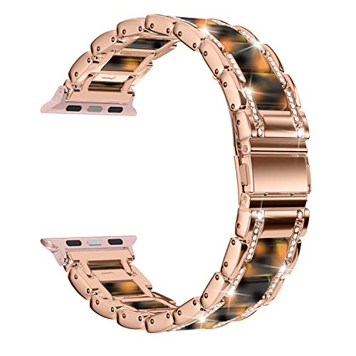 Moolia Metal Strap Band Compatible with Apple Watch Band 38mm 40mm Womens Men Rhinestones Resin Metal Wristband Bracelet Replacement for iWatch Series 5 4 3 2 1 Rose Gold + Tortoise