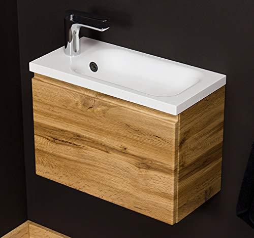 Quentis Waschplatzset Faros, Breite 50 cm, Waschbecken und Unterschrank, Holzdekor Eiche Natur, Waschbeckenunterschrank montiert