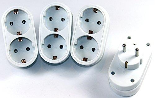 Double prise adaptateur de prise 2 Compartiment Plus Multi Fiche adaptatrice Contact 568 (6 pièces)