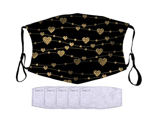 FQJNS Face Shield Mouthcloth Face Scarf Mask With Filters Washable Reuseable Cotton Dust Sport for Unisex Men Women (Beautiful Gold Hearts)