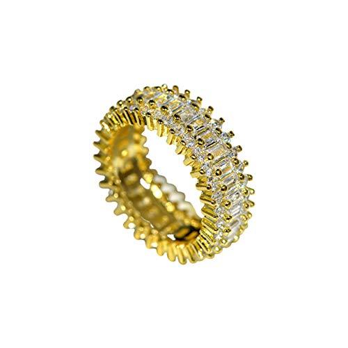 Ruby569y Anillos de diamantes de imitación brillantes de banda ancha para mujeres y hombres, unisex creativo, anillo de aleación para fiestas, parejas, bodas, Navidad, regalo de joyería de oro, 9