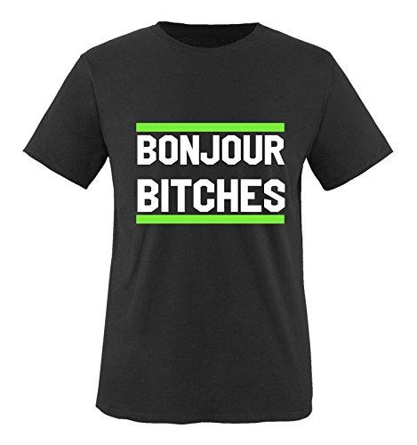 Comedy Shirts - Bonjour Bitches - Herren T-Shirt - Schwarz/Weiss-Neongrün Gr. 3XL