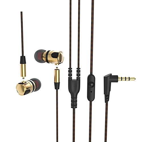 Langsdom In-Ear oordopjes Bedraad Oortelefoon Metalen Hoofdtelefoon Stereo Bass met Microfoon 3.5mm Jack Compatibel voor iPhone, iPad, iPod, Android, MP3, MP4 Spelers (MC1, Gold)