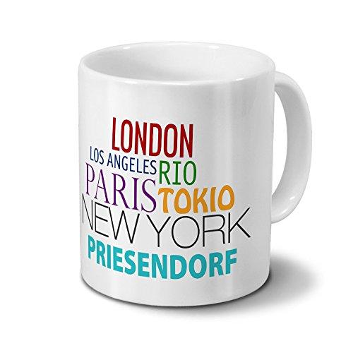 Städtetasse Priesendorf - Design Famous Cities of the World - Stadt-Tasse, Kaffeebecher, City-Mug, Becher, Kaffeetasse - Farbe Weiß