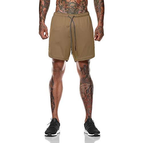 Pantalones Cortos de Secado rápido para Hombre Costuras Falsas de Dos Piezas Cintura elástica Cordón Ocio Cómodo Entrenamiento para Correr Pantalones Cortos de Playa XXL