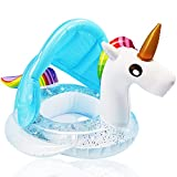 Unicorn Baby Swimming Pool Float with Canopy, Glitters Seat & Safety Handle, 2021 Summer Baby Floats for Pool, Inflatable Baby floaties for 1-3 Years Kids Boys Girls Family Summer Outdoor Party Favor