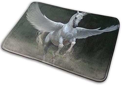 Felpudo de alas mágicas de Caballo de 40x60 cm, Alfombra de baño Antideslizante, Alfombra de Bienvenida, Felpudo para Entrada al Aire Libre, decoración del Suelo del hogar