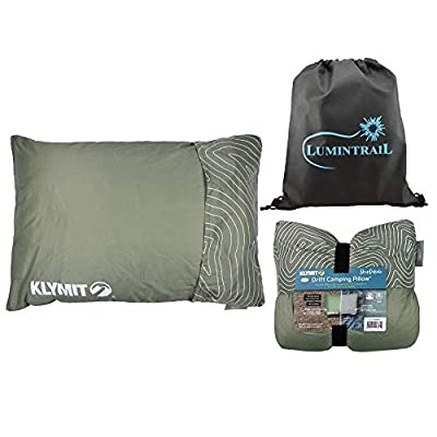 Klymit Camping Pillow Drift Camp Pillow, Large Bundle with a Lumintrail Drawstring Bag