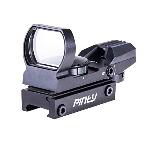 Pinty Red Green Dot Sight Reflex Tactical Riflescope 4 Reticle Patterns with 20mm Free Mount Rails