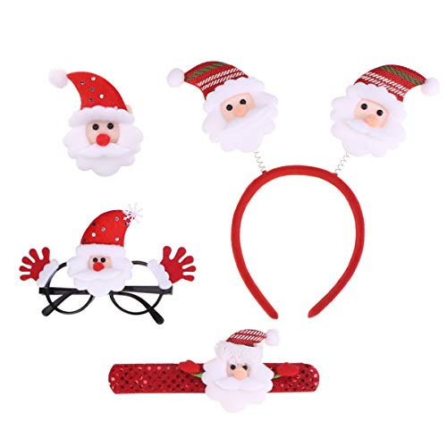 STOBOK weihnachtsschmuck Set Santa headhoop Brille brosche klaps Armband kit kostüm Foto Prop Dress up zubehör weihnachtsschmuck Geschenke gastgeschenke