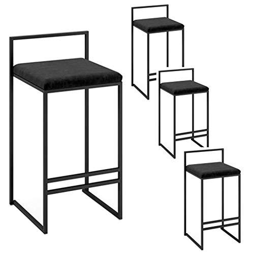 WGEMXC Stühle, Hochstühle, Barstühle, Hocker Barhocker Esszimmerstuhl Rückenzähler Küche Frühstück Bistro Kaffeehöhe Fußhocker Kissen Black Metal Base,Schwarz,45 cm