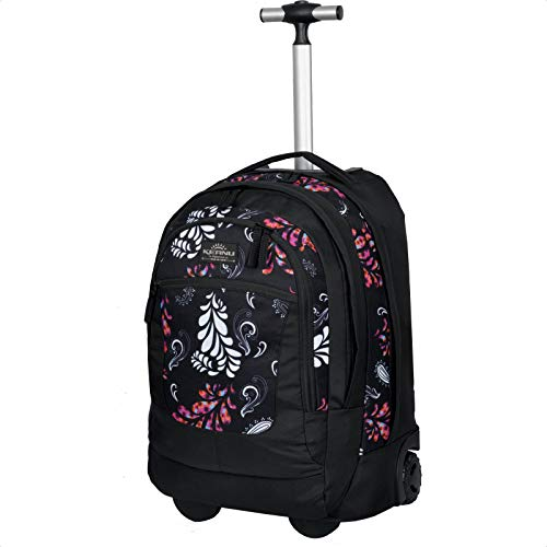 KEANU Premium Schultrolley hochwertiger XL Schulrucksack Rucksack Driver Cruiser Bordgepäck Ranzen Trolley :: Diverse Motive Butterfly Tattoo Dragon :: 35 Liter, Laptopfach (Black Paisley)