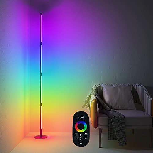 RGB Farbe LED Stehlampe Dimmbar mit Fernbedienung, Farbe Wechselnde Moderne Stehlampe, 300+ Farben Effekte, Helligkeit & Geschwindigkeit einstellbare Ecke Licht, 16 Millionen Farben, für Wohnzimmer