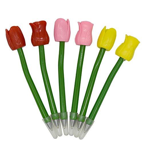 Maydahui おしゃれ チューリップ ローズ フラワー ボールペン 油性 花 ボールペン �K 0.5mm 6本セット オフィス 文房具 筆記用 手帳用 ボールペン 植物 ボールペン ギフト プレゼント かわいい 女性 記念品 結婚式 お祝い 誕生日など