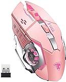 TENMOS T85 Raton Inalambrico Gaming,2.4G USB LED Recargable Inalámbrico silencioso óptico, Sleep Automático, 3 dpi Ajustable, 6 Botones para Mac/PC/Portatil/Ordenador (Rosa)