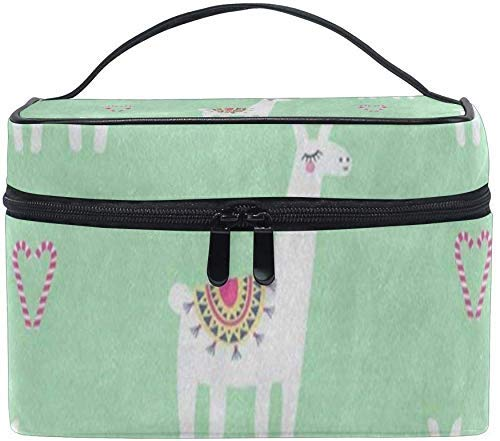 Vanity et Trousses à Maquillage Cosmetic Bag Cute Lama Candy Cane Heart Animal Womens Makeup Organizer Girls Toiletry Case Box Lazy Zip Bag Unique