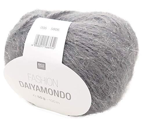 Rico Fashion Daiyamondo Fb. 06 dunkel graue Wolle mit Glitzer, Lurex zum Stricken und Häkeln