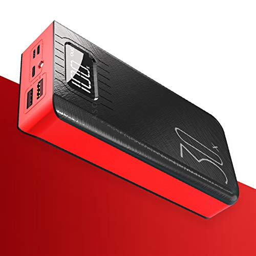 KOLOSM Banco de energía Power Bank 30000mAh Mostrar Cargador de batería Externo portátil (Battery Capacity : 30000mAh, Color : Red)