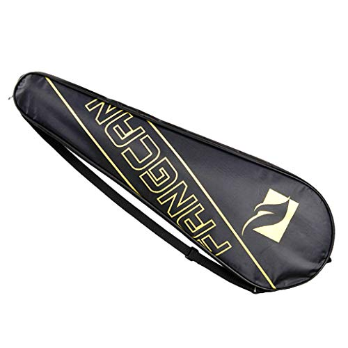 LEIPUPA Waterproof Badminton Single Racket Case Cover Carrying Bag Pack Holder Black - Yellow