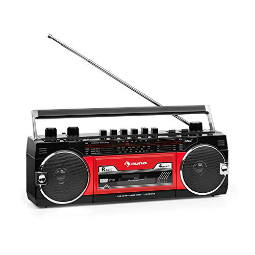 auna Duke MKII Kassettenrekorder - Bluetooth, Direct Encoding von Kassette auf USB/SD, 4-Band Radio: FM, MW, SW1, SW2, Teleskopantenne, USB, SD Slot, Netz- oder Batteriebetrieb, schwarz/rot