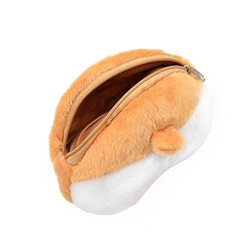 SODIAL Nettes 3D Corgi Hintern Form Geldboerse Shiba Arsch Bum Brieftasche Reissverschluss Etui 1 Stueck