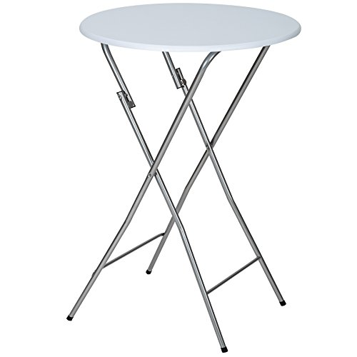 TecTake Table de bistrot Table Haute de Bar env. 110 cm Blanche Pliable
