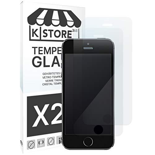 KSTORE365 2 Piezas, Cristal Templado para iPhone 5 5S 5SE 5C, 9H...