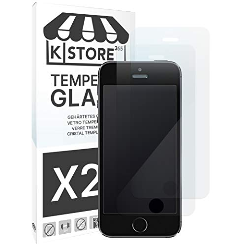 KSTORE365 2 Pezzi, Vetro Temperato per iPhone 5 5S 5SE 5C, Durezza 9H, Pellicola Proteggi Schermo, Cristallo Protettivo, Adesivo Tutto Salvaschermo, Bordo Arrotondato 2.5D per iPhone 5 5S 5SE 5C