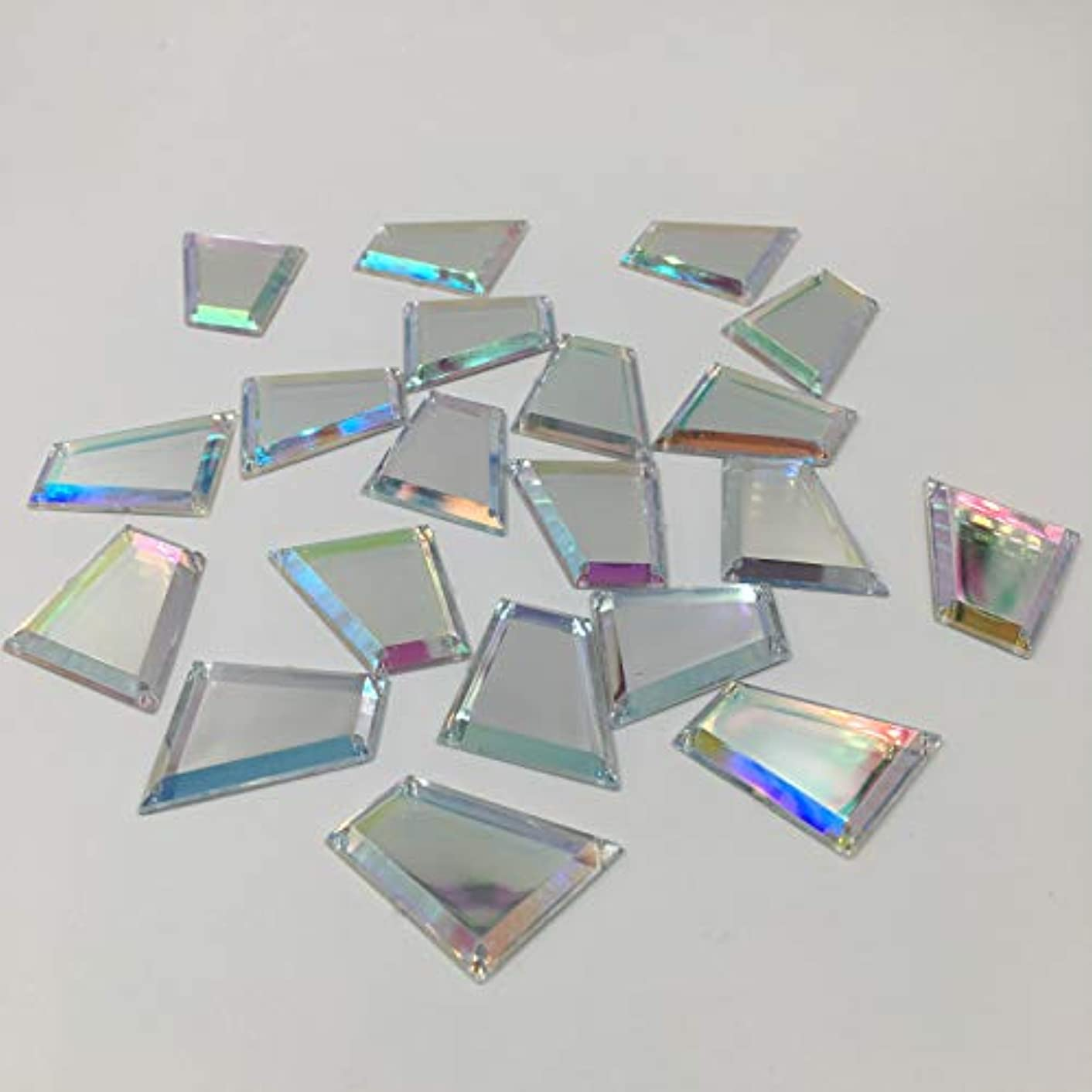 20PCS Trapezoid AB Color Sew on Mirror Beads Acrylic Crystal Rhinestones Flat Back Mirrors