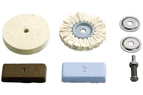Wolfcraft 2178000 - Juego hobby de pulido para metales, plástico, marmol etc. contenido: pasta de pulido, mandril de sujeción, disco de fieltro, disco de algodon