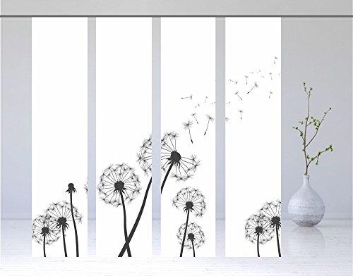 gardinen-for-life Flächenvorhang Dandelions Xtra - 4er - Serie, Set 4tlg, Jew. Gr.60x260 cm